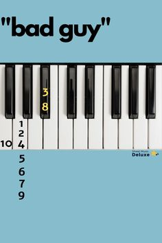 """This is """"Bad Guy"""" intro piano music. """"Bad Guy"""" by Billie Eilish beginning piano notes. Piano by numbers Piano Sheet Music Letters, Piano Music Notes, Easy Piano Sheet Music, Flute Sheet Music, Piano Lessons, Music Lessons, Music Chords, Music Music, Dance Music"""