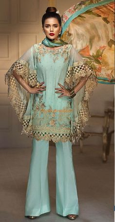 Anaya Luxury Embroidered Latest Chiffon Collection Replica Fabric Chiffon Embroidered Neck Embroidered Front Front Panel Back Plain Embroidered Sleeves Embroidered Cut Work Sleeves Silk Printed Dupatta Inner Included Pakistani Designer Clothes, Pakistani Party Wear Dresses, Pakistani Dress Design, Pakistani Designers, Designer Dresses, Pakistani Suits, Maria B Bridal, Stylish Dresses, Fashion Dresses