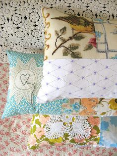 Salvage parts of old linens due to stains and damage - Quilts, pillows, curtains, tablecloths!