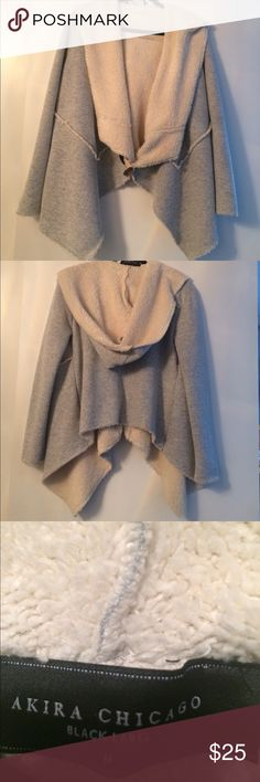 Amira Chicago Black label Sherpa Shawl hoodie Worn/washed 1 time. Price is firm. No trades/modeling please. Item not available for bundling. AKIRA Jackets & Coats
