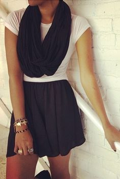 Cute black skirt and scarf with white top. . . click on pic to see more