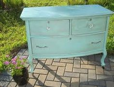 Benjamin Moore San Clemente Teal dresser--the color I think I want the nursery walls:)