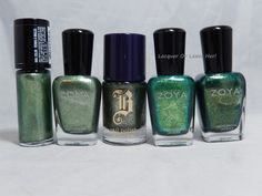 Flecked green polish comparison from Laquer or Leave Her