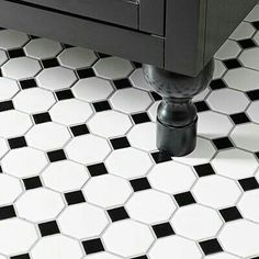 Diy bath renovation from dated to sophisticated bathroom remodel black and white tile floor Black And White Bathroom Floor, Black Tile Bathrooms, Black And White Tiles, Bathroom Floor Tiles, Black White, Bathroom Basin, Kitchen Floor, Black Wood, White Marble