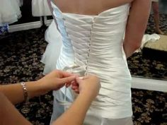 How To Lace A Corset Back Gown. Nichole of Camarillo Bridal demonstrates the correct way to lace a corset for your wedding day. Corset Back Wedding Dress, Lace Corset, Tie Dress, Dress Backs, Gown Dress, Lace Flower Girls, Flower Girl Dresses, Prom Dresses, Bridal Gowns