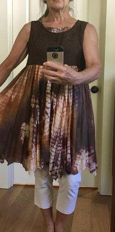 Upcycled Recycled Repurposed Boho Tie Dye Tunic Dress Ragged Vestiti  Artigianali 125e689d21ed