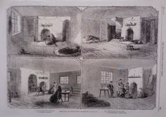 1862 PRINT THE COTTON FAMINE : DWELLINGS OF MANCHESTER OPERATIVES
