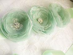 Bridal sash belt with handmade mint flowers by AijasFlowers