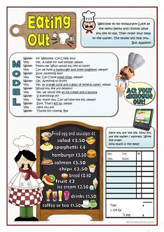 EATING OUT worksheet - Free ESL printable worksheets made by teachers English Teaching Materials, English Resources, English Activities, English Lessons, Teaching English, French Lessons, Spanish Lessons, Teaching Spanish, English Reading