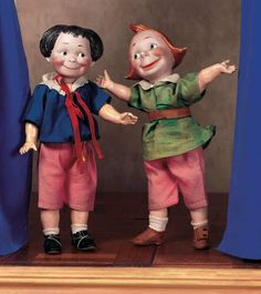Pair,German Bisque Characters. Circa 1912. http://Theriaults.com