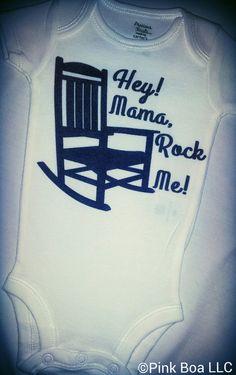 Baby Onesies Mama Rock Me by ThePinkBoa, $16.00