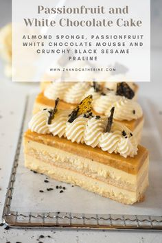 Tart passionfruit and white chocolate mousse with an almond sponge and crunchy black sesame praline Mini Desserts, Zumbo's Just Desserts, Plated Desserts, Cake Filling Recipes, Pastry Recipes, Cake Recipes, Zumbo Recipes, Gourmet Cakes, Gourmet Desserts
