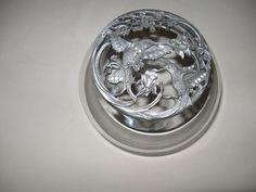 Rawcliffe Pewter Humming Birds Lid Potpourri Glass Bowl Jar Anchor Hocking 1989