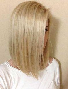Straight Short Blonde Long Bob Hairstyle