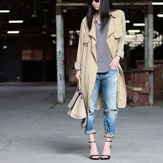 A Striped Shirt, Boyfriend Jeans, Heels, and a Trench Coat
