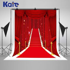 Red Carpet Curtain Stage Stairs Photography Backdrops Shinning Lights Photo Backgrounds for Wedding Studio Props