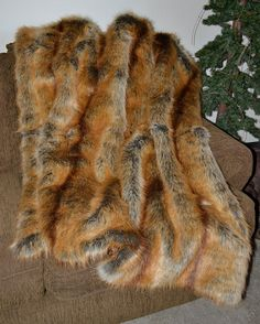 Red Fox Faux Fur / Fake Fur Blanket Throw by CindyHeitkampDesigns, $129.00