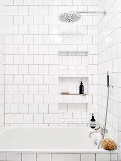 white square tile bathroom, rainfall shower head, utilitarian