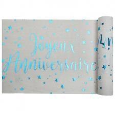 Chemin de table anniversaire blanc et bleu (x1) REF/5668 White Wash Table