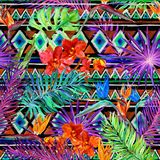 Tropical Exotic Leaves, Orchid Flowers, Neon Light. Seamless Pattern. Watercolor - Download From Over 50 Million High Quality Stock Photos, Images, Vectors. Sign up for FREE today. Image: 74258056