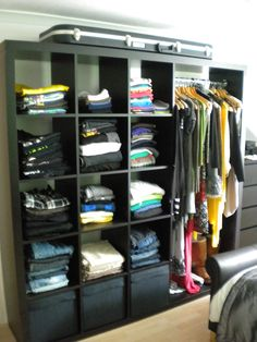 Upcycle an Ikea Expedit unit into an open-face wardrobe!