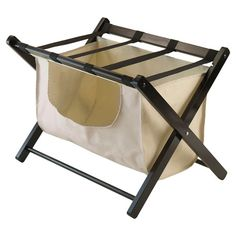 Perfect placed in your guest room or master suite closet, this innovative luggage rack offers versatile style with its folding design and removable basket.
