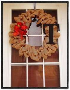 Burlap wreath with holiday changeable accessory