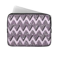 Unique, trendy and pretty laptop protection sleeve. Beautiful faux sparkling, psychedelic, modern abstract pink and violet purple aztec chevron zig zag stripes pattern. Vintage retro zigzag design for the fashionista and fashion diva, the hip trend setter, bling and sparkle, crystals and rhinestones, mod motif or nouveau deco art lover. Cute and fun birthday gift or Christmas present. Elegant, classy, chic, original and cool laptop sleeve for the girly girl or sophisticated business woman.