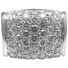 BULGARI Diamond White Gold Ring | From a unique collection of vintage band rings at http://www.1stdibs.com/jewelry/rings/band-rings/