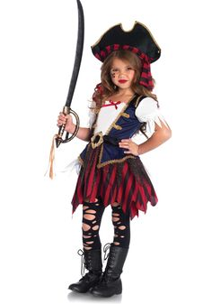 this caribbean pirate girls costume features sassy details that will make even the most girly girl want to be a pirate - Halloween Pirate Costume Ideas
