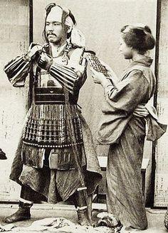 "thekimonogallery: "" Dressing in samurai armor. 1860′s to 1880′s, Japan. Unknown…"