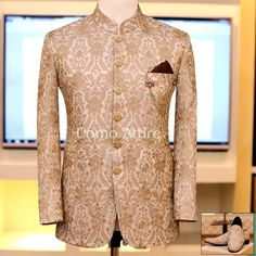 """""""People will stare. Make it worth their while."""" Golden embriodered fabric with goldon buttons for solid elegant look on your Big Day. Exclusively Available for orders at ☎️ For & inbox us OR Call/WhatsApp on OR Indian Wedding Suits Men, Best Wedding Suits, Wedding Dress Men, Gents Kurta Design, Blazer Outfits Men, Blue Suit Men, Indian Men Fashion, Kurta Designs, Prince Suit"""