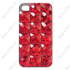 $8.17 Hard Plastic Protective Case Cover For iphone 4s/4 With Artificial Diamond Pattern(Red) Edealbest.com