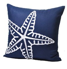 """Modern Starfish Pillow Cover, Navy Blue Linen with White Starfish, Decorative Throw Pillow, Pillow Case 18"""" x 18"""", Beach Cottage Cushion"""