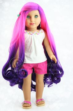 Violette Mermaid Doll Wig (Pink Purple Ombre Hair) for Custom American Girl Dolls: Beautifully Custom Exclusive
