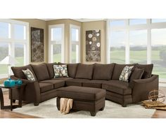 Cupertino 3pc sectional by Chelsea Home Furniture in Flannel Espresso 183810-4041-SEC-FE   Sofas & Sectionals
