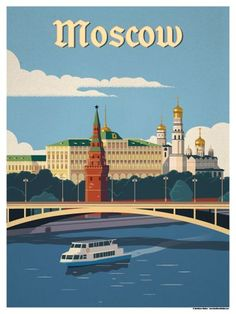 Vintage Travel Image of Moscow River Poster - Browse all products in the Travel Posters - World Destinations category from IdeaStorm Studio Store. Retro Poster, Poster City, Tourism Poster, Photo Vintage, National Park Posters, City Illustration, Thinking Day, Vintage Travel Posters, Vintage Advertisements