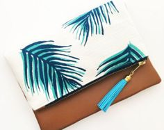 Boho pompon pochette en tissu feuille palmier avec Faux cuir beige et pompon