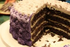 Through Fuchsia-Colored Glasses: Recipe: Red Velvet Cake with Traditional Frosting {love the purple! Purple Velvet Cakes, Red Velvet, Cake With Cream Cheese, Cream Cheese Frosting, Cupcake Cakes, Cupcakes, Ombre Cake, Gel Food Coloring, Sweet Stuff