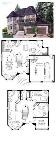 Victorian House Plan 65210 | Total Living Area: 1976 sq. ft., 3 bedrooms & 2.5 bathrooms. Two turrets of different volumes are further distinguished by the use of stone, acrylic and wrought iron. Inside we notice 9 foot ceilings, a great family room with ample lighting, a roomy kitchen and a combined living / dining room. #houseplan #victorianstyle