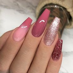 """Mi piace"": 13.8 mila, commenti: 72 - TheGlitterNail Get inspired! (@theglitternail) su Instagram: ""✨ REPOST - - • - - Mauve-Red, Glitter and Ombre on long Coffin Nails ✨ - - • - - Picture and…"" #GlitterFashion"