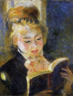 "Woman Reading (1875-1876). Pierre-Auguste Renoir (1841-1919). Oil on canvas. Musée d'Orsay, Paris, France. In the 1870s, Renoir's Impressionism style reached its peak. He participated in the Impressionist exhibitions and was a founding member of the review L'Impressionniste (1877), where he published his article on the principles of contemporary art.  ""The work of art must seize upon you, wrap you up in itself and carry you away. It is the means by which the artist conveys his passion. ..."