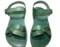 Green Circle Leather Sandals