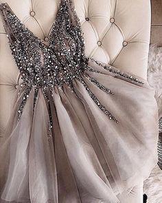 Gray V-Neck Beaded Tulle Homecoming Dress,Short A-Line Prom Dress,Deep V-Neck Party Mini Dress