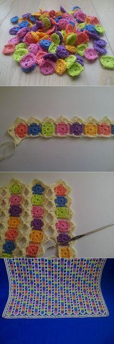 New Crochet Granny Square Afghan Scrap 50 Ideas Crochet Granny Square Afghan, Crochet Quilt, Crochet Blocks, Crochet Squares, Crochet Blanket Patterns, Crochet Motif, Crochet Designs, Crochet Yarn, Crochet Flowers