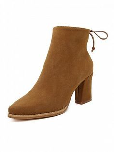 $45.99 Brown Suedette Tied Back Zip Side Pointed Block Ankle Boots