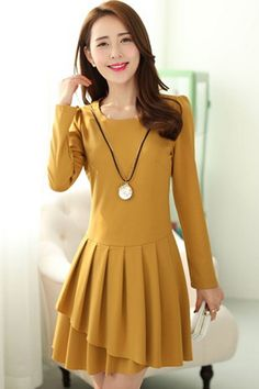 Pleated Long Sleeve Dress - OASAP.com
