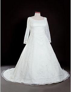 Princess Scoop Natural Chapel Train Long Sleeve Zipper Tulle Illusion Church Wedding Dress #169976(More color option)