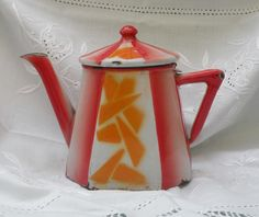 art deco enamelware, deco teapot, enamel coffeepot, french shabby chic, vintage home decor, 1930s enamelware, red orange coffeepot - pinned by pin4etsy.com