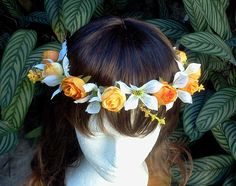 coroa headband de orquideas brancas e rosinhas laranja 0e5f1a9e993